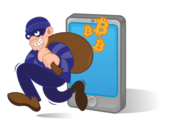 Robber in a mask carrying a bag over his shoulder with bitcoin symbols around it.