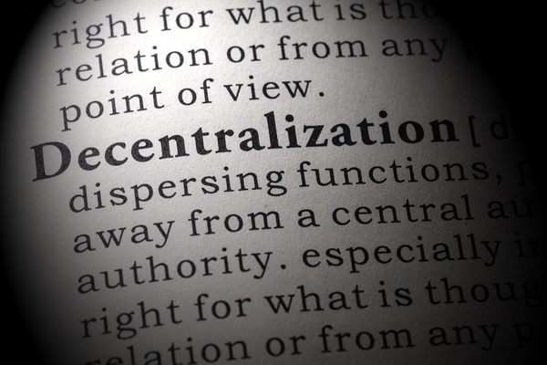 Dictionary page highlighting the word decentralization.