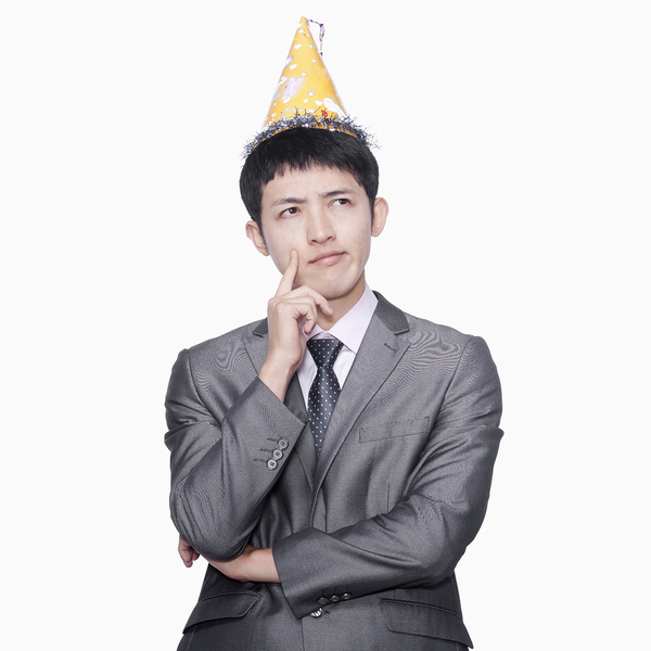 man in party hat