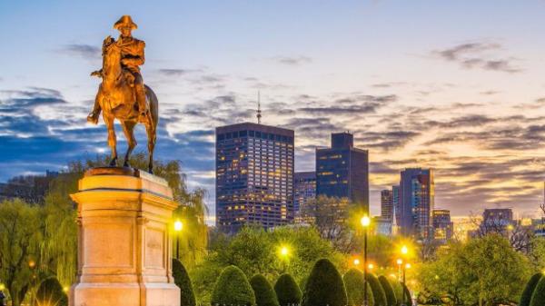 City of Boston at sundown.
