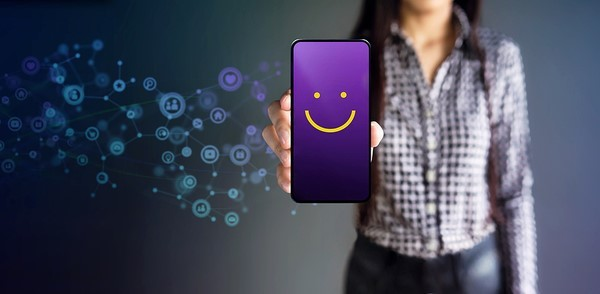 Smily face on a phone screen.