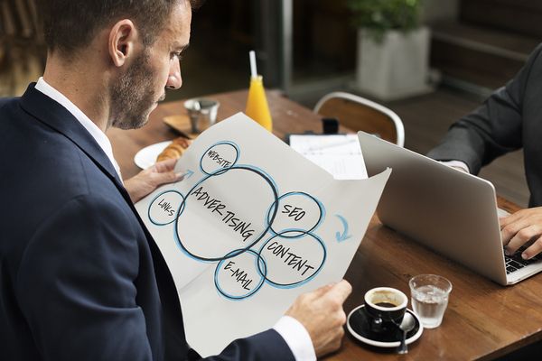Person looking at a marketing diagram drinking coffee