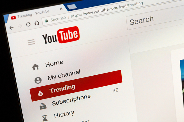 Youtube home page screen shot.