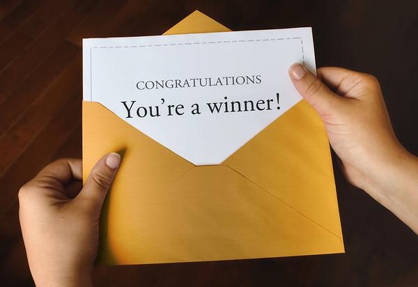 Congratulations You're a Winner note.