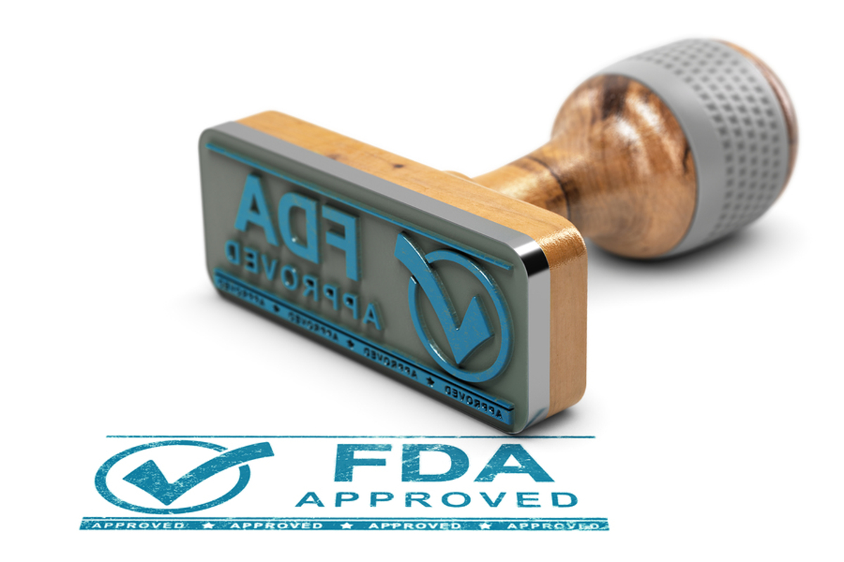 Stamp labeled FDA approved.