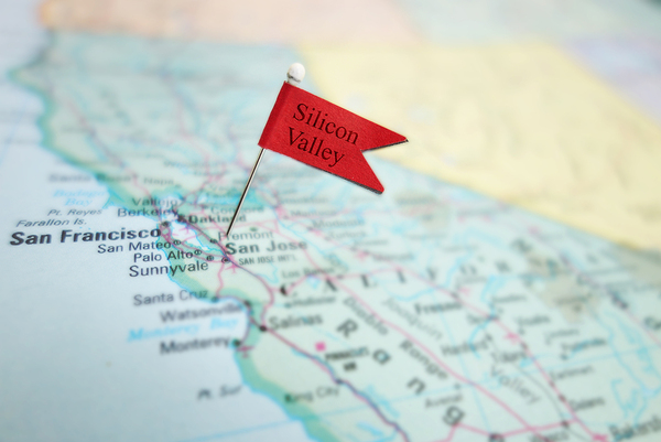 Silicon Valley labeled red flag on a map.