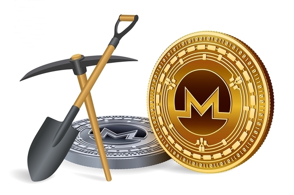 Monero coins with shovel and pickaxe.