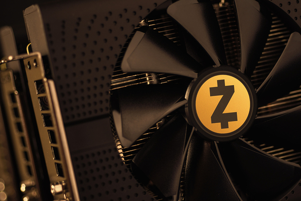 Computer fan with the zcash logo.