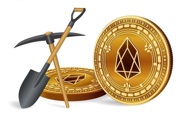 EOS logo on a gold coin, pickaxe and shove.