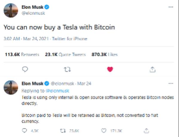 Elon Musk tweet - you can buy a Tesla with Bitcoin.