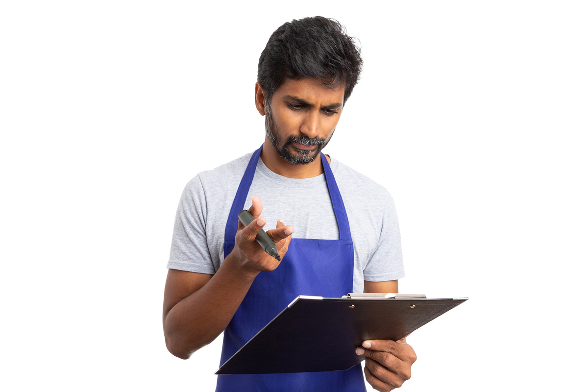 Checking a document on a clipboard.