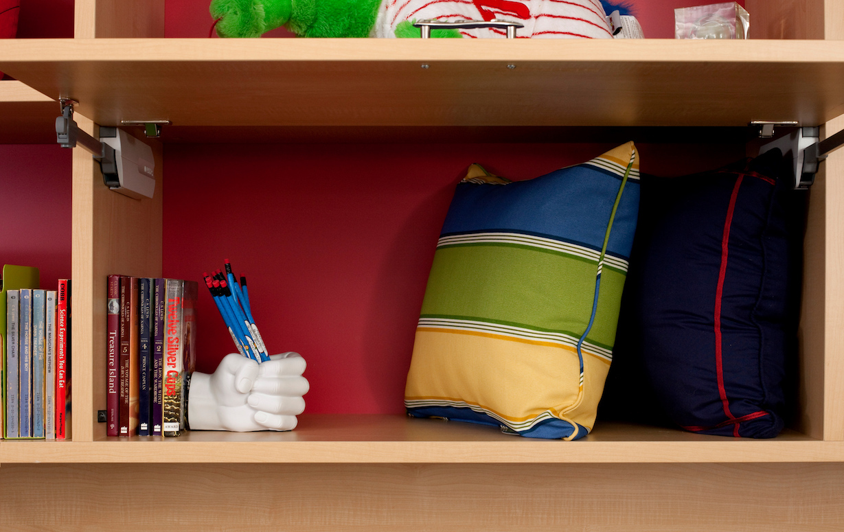 shelves organizing kids playroom with flip open cubbies and cubes