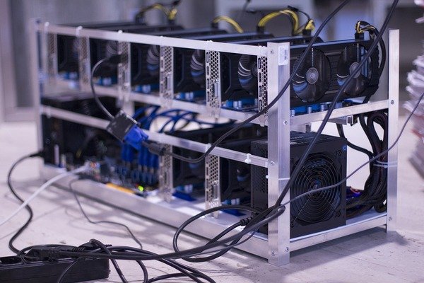 Stack of mining computers.