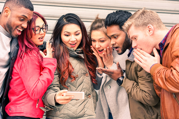 friends checking out content marketing