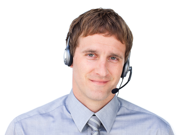 Man with a telephone headset for a medical answering service