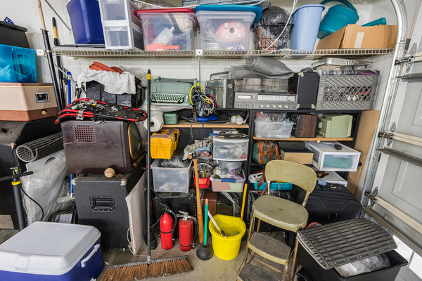 Garage filled with items.