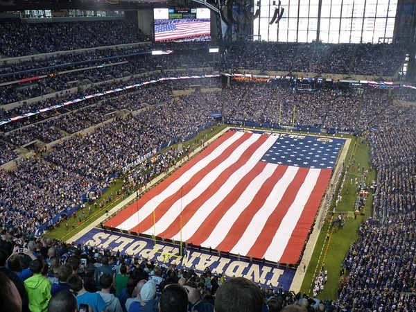 Inside of Lucas Oil Stadium in Indianapolis