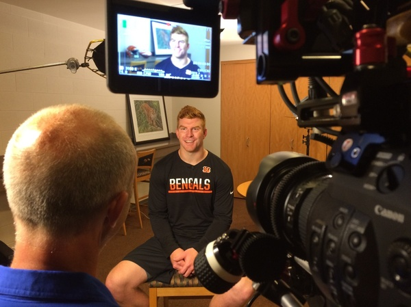 NFL hot shots Andy Dalton of Cincinnati Bengals interviewed by Crews Control Team