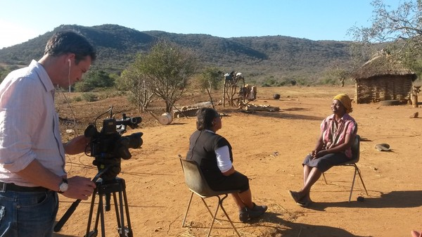 filming interview outside in heat of Swaziland
