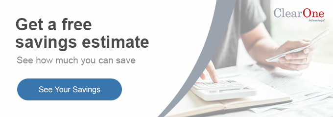 Get a free savings estimate banner with man calculating bills